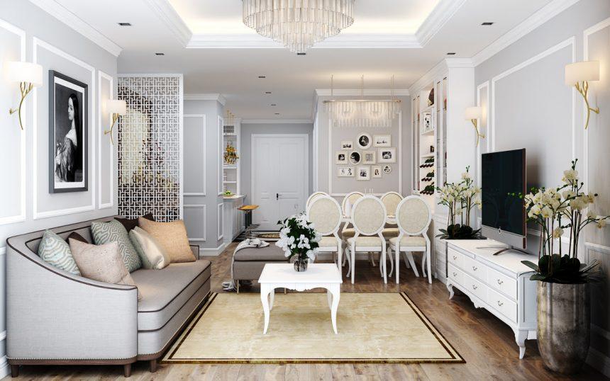 Thiết kế nội thất tân cổ điển trang nhã tại D' Le Pont D'Or – nhà anh Sửu