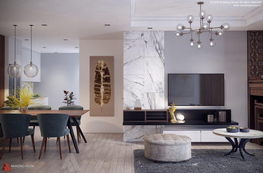 Thiết kế nội thất chung cư hiện đại, tiện nghi tại Vinhomes Timescity ParkHill nhà cô Lan