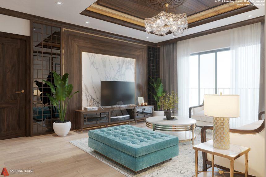Nội thất phong cách Á Đông căn hộ chung cư Goldmark city diện tích 180m2