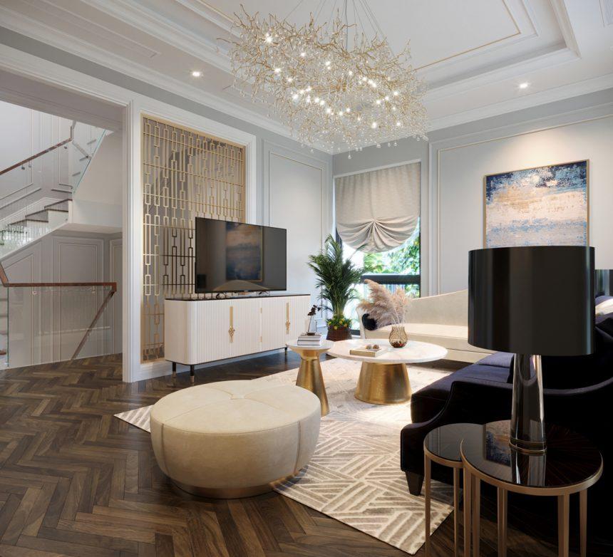 Trang trí nội thất biệt thự Star Lake Tây Hồ Tây theo phong cách tân cổ điển